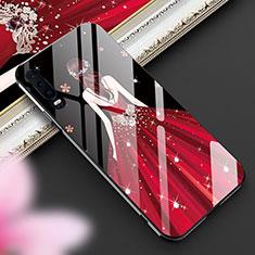 Coque Contour Silicone et Vitre Dos de Fille Miroir Etui Housse pour Huawei P30 Rouge