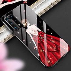 Coque Contour Silicone et Vitre Dos de Fille Miroir Etui Housse pour Huawei P40 Pro+ Plus Rouge