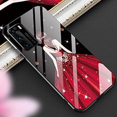 Coque Contour Silicone et Vitre Dos de Fille Miroir Etui Housse pour Huawei P40 Rouge