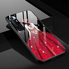 Coque Contour Silicone et Vitre Dos de Fille Miroir Etui Housse pour Xiaomi Mi 10 Ultra Rouge