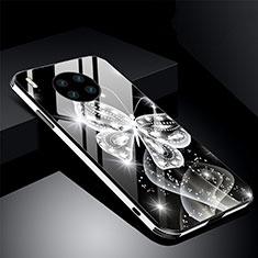 Coque Contour Silicone et Vitre Fleurs Miroir Etui Housse C01 pour Huawei Mate 30 5G Noir