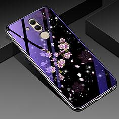 Coque Contour Silicone et Vitre Fleurs Miroir Etui Housse H01 pour Huawei Mate 20 Lite Violet