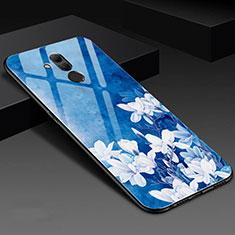 Coque Contour Silicone et Vitre Fleurs Miroir Etui Housse H02 pour Huawei Mate 20 Lite Bleu
