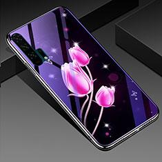 Coque Contour Silicone et Vitre Fleurs Miroir Etui Housse K02 pour Huawei Honor 20 Pro Rose Rouge