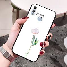 Coque Contour Silicone et Vitre Fleurs Miroir Etui Housse pour Huawei Honor 10 Lite Blanc