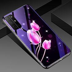 Coque Contour Silicone et Vitre Fleurs Miroir Etui Housse pour Huawei Honor 30S Rose