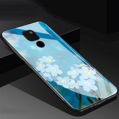 Coque Contour Silicone et Vitre Fleurs Miroir Etui Housse pour Huawei Mate 20 Bleu
