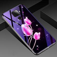 Coque Contour Silicone et Vitre Fleurs Miroir Etui Housse pour Huawei Mate 30 Lite Rose Rouge