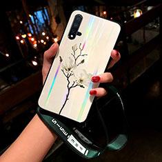 Coque Contour Silicone et Vitre Fleurs Miroir Etui Housse pour Huawei Nova 5 Pro Blanc