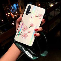 Coque Contour Silicone et Vitre Fleurs Miroir Etui Housse pour Huawei Nova 5 Pro Rose