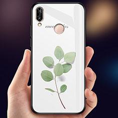 Coque Contour Silicone et Vitre Fleurs Miroir Etui Housse pour Huawei P20 Lite Vert