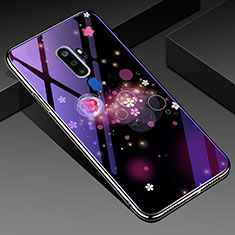 Coque Contour Silicone et Vitre Fleurs Miroir Etui Housse pour Oppo A5 (2020) Violet
