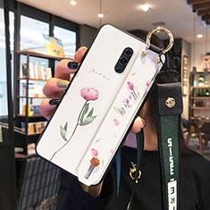 Coque Contour Silicone et Vitre Fleurs Miroir Etui Housse pour Oppo Realme X Blanc