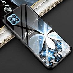 Coque Contour Silicone et Vitre Fleurs Miroir Etui Housse pour Oppo Reno4 SE 5G Noir
