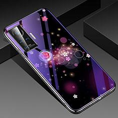 Coque Contour Silicone et Vitre Fleurs Miroir Etui Housse pour Vivo X50 Pro 5G Violet