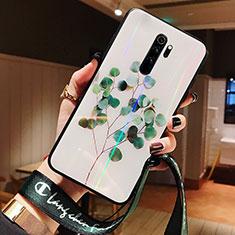 Coque Contour Silicone et Vitre Fleurs Miroir Etui Housse pour Xiaomi Redmi Note 8 Pro Vert