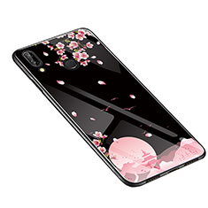 Coque Contour Silicone et Vitre Fleurs Miroir Etui Housse S01 pour Huawei P20 Lite Noir