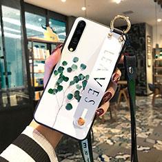 Coque Contour Silicone et Vitre Fleurs Miroir Etui Housse S01 pour Huawei P30 Vert