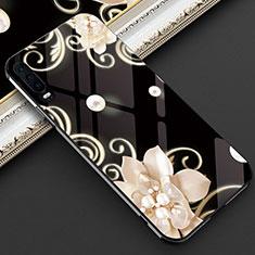 Coque Contour Silicone et Vitre Fleurs Miroir Etui Housse S02 pour Huawei P30 Noir