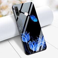 Coque Contour Silicone et Vitre Fleurs Miroir M02 pour Huawei P30 Lite Bleu