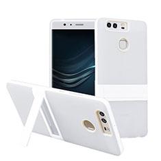 Coque Contour Silicone et Vitre Mat avec Bequille pour Huawei P9 Blanc