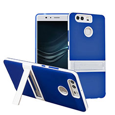 Coque Contour Silicone et Vitre Mat avec Bequille pour Huawei P9 Plus Bleu
