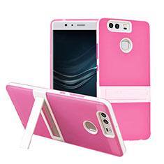 Coque Contour Silicone et Vitre Mat avec Bequille pour Huawei P9 Plus Rose