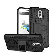 Coque Contour Silicone et Vitre Mat avec Bequille pour Motorola Moto G4 Plus Noir