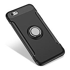 Coque Contour Silicone et Vitre Mat avec Support Bague Anneau pour Apple iPhone 6S Plus Noir