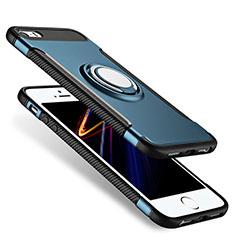 Coque Contour Silicone et Vitre Mat avec Support Bague Anneau pour Apple iPhone SE Bleu