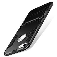Coque Contour Silicone et Vitre Mat avec Support pour Apple iPhone 5S Noir