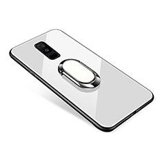 Coque Contour Silicone et Vitre Miroir Housse Etui avec Support Bague Anneau pour Samsung Galaxy A6 Plus Blanc