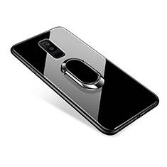 Coque Contour Silicone et Vitre Miroir Housse Etui avec Support Bague Anneau pour Samsung Galaxy A9 Star Lite Noir