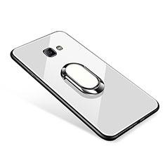 Coque Contour Silicone et Vitre Miroir Housse Etui avec Support Bague Anneau pour Samsung Galaxy J7 Prime Blanc