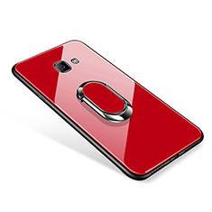 Coque Contour Silicone et Vitre Miroir Housse Etui avec Support Bague Anneau pour Samsung Galaxy J7 Prime Rouge