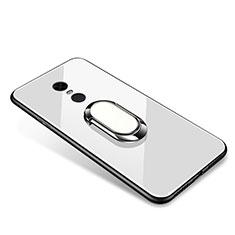 Coque Contour Silicone et Vitre Miroir Housse Etui avec Support Bague Anneau pour Xiaomi Redmi 5 Plus Blanc