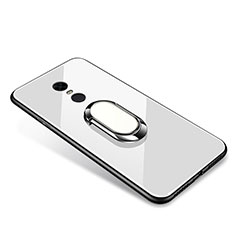 Coque Contour Silicone et Vitre Miroir Housse Etui avec Support Bague Anneau pour Xiaomi Redmi Note 5 Indian Version Blanc