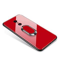 Coque Contour Silicone et Vitre Miroir Housse Etui avec Support Bague Anneau pour Xiaomi Redmi Note 5 Indian Version Rouge