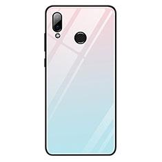 Coque Contour Silicone et Vitre Miroir Housse Etui Degrade Arc en Ciel G01 pour Huawei Honor Play Bleu Ciel