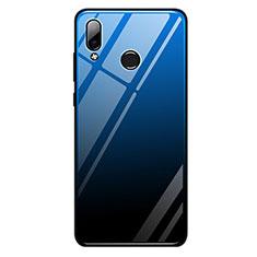 Coque Contour Silicone et Vitre Miroir Housse Etui Degrade Arc en Ciel G01 pour Huawei Honor Play Bleu et Noir
