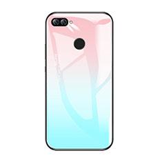Coque Contour Silicone et Vitre Miroir Housse Etui Degrade Arc en Ciel pour Huawei Enjoy 7S Bleu Ciel
