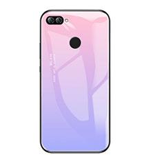 Coque Contour Silicone et Vitre Miroir Housse Etui Degrade Arc en Ciel pour Huawei Enjoy 7S Violet