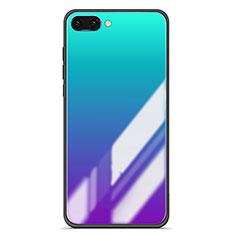 Coque Contour Silicone et Vitre Miroir Housse Etui Degrade Arc en Ciel pour Huawei Honor 10 Bleu