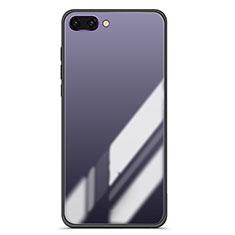 Coque Contour Silicone et Vitre Miroir Housse Etui Degrade Arc en Ciel pour Huawei Honor 10 Gris