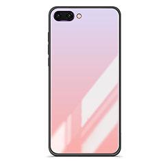 Coque Contour Silicone et Vitre Miroir Housse Etui Degrade Arc en Ciel pour Huawei Honor 10 Rose