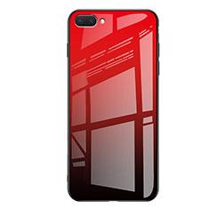 Coque Contour Silicone et Vitre Miroir Housse Etui Degrade Arc en Ciel pour Huawei Honor 10 Rouge