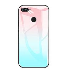 Coque Contour Silicone et Vitre Miroir Housse Etui Degrade Arc en Ciel pour Huawei Honor 9i Bleu Ciel