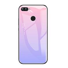 Coque Contour Silicone et Vitre Miroir Housse Etui Degrade Arc en Ciel pour Huawei Honor 9i Violet