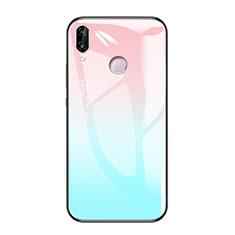 Coque Contour Silicone et Vitre Miroir Housse Etui Degrade Arc en Ciel pour Huawei Honor Play Bleu Ciel
