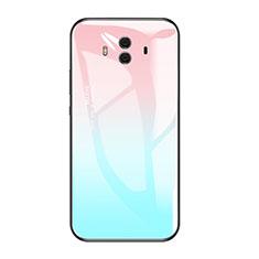 Coque Contour Silicone et Vitre Miroir Housse Etui Degrade Arc en Ciel pour Huawei Mate 10 Bleu Ciel